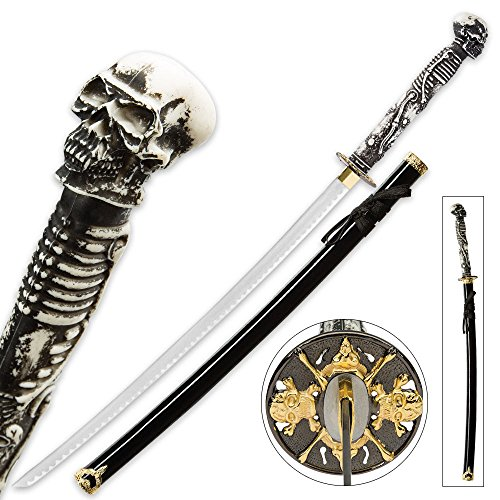 (K EXCLUSIVE Something Wicked Skull and Bones Fantasy Katana Sword with Scabbard)