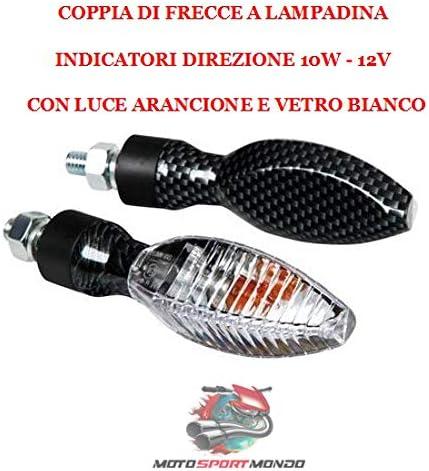 COMPATIBILE CON YAMAHA XT 660 R COPPIA DI FRECCE A LAMPADINA 10W PER MOTO OMOLOGATE COLORE CARBON LOOK LAMPA 90078 LUCE ARANCIO VETRO BIANCO