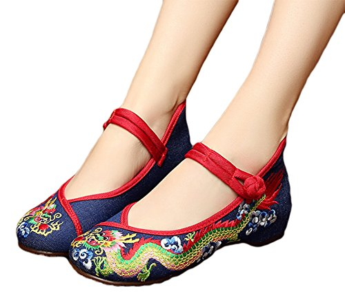 Blue Embroidered Dragon (AvaCostume Chinese Traditional Dragon Embroidery Flats Cheongsam Shoes, Blue, 42)