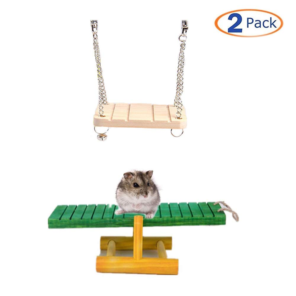 Wood Hamster Seesaw Natural Hamster Platform Swing Playground Chew Toys Cage Accessories for Small Squirrels Hamsters Gerbil Mouse Dwarf Rat Other Small Animals 2 Pcs