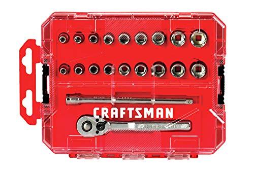 CRAFTSMAN Socket Set, SAE / Metric, 1/4-Inch Drive, 20-Piece (CMMT12008)