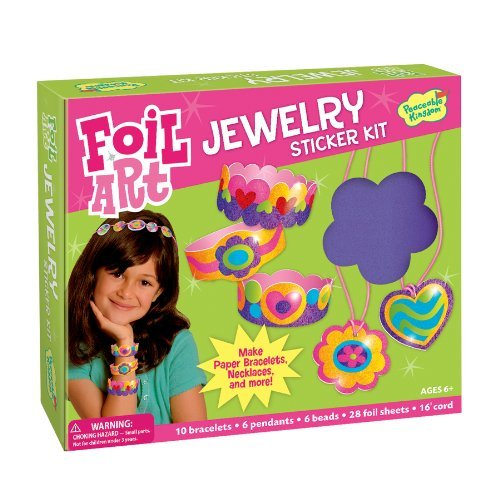 (Peaceable Kingdom Sticker Crafts Make My Own Foil Art Sticker Jewelry Kit for Kids )