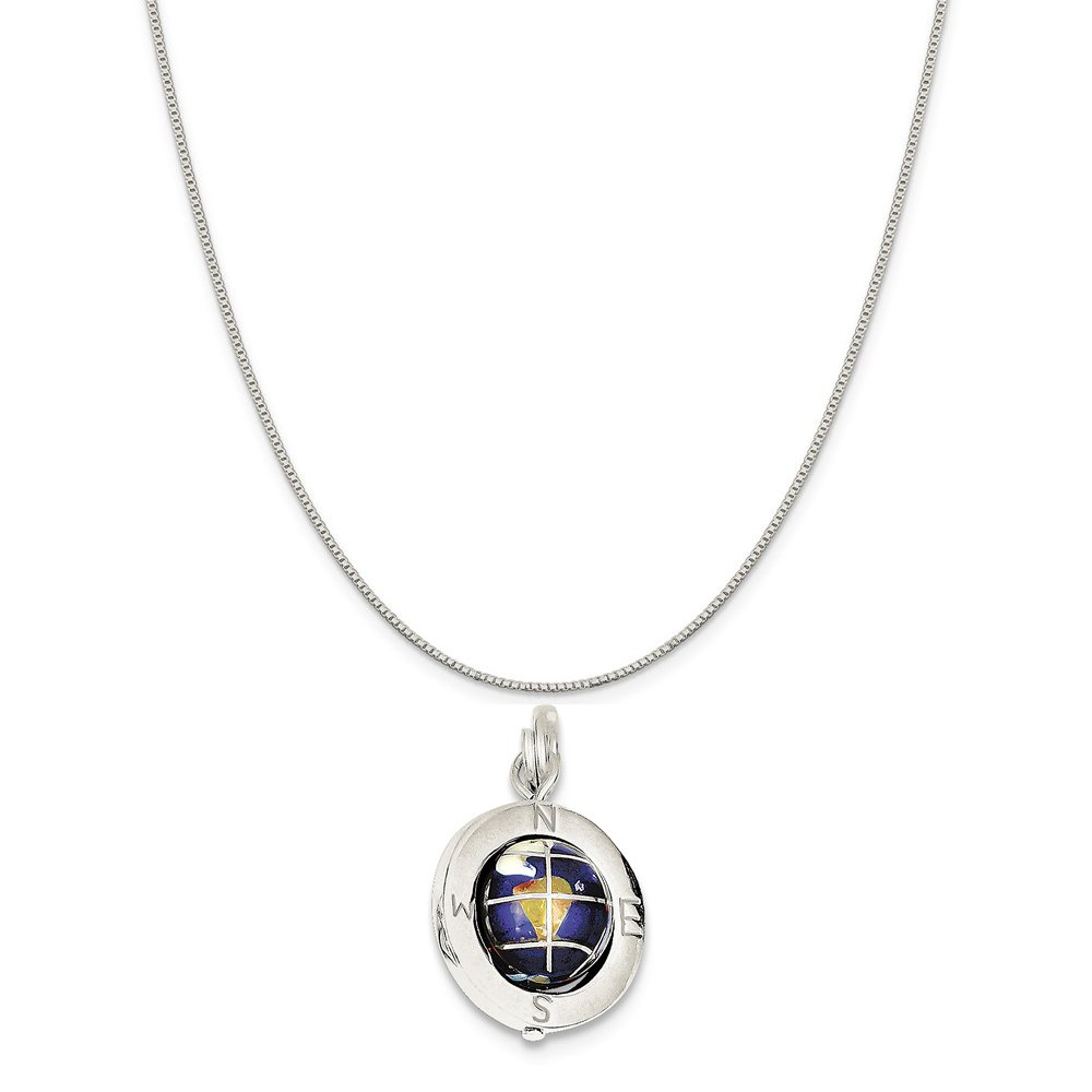 Mireval Sterling Silver Enameled Globe Charm on a Sterling Silver Carded Box Chain Necklace 18