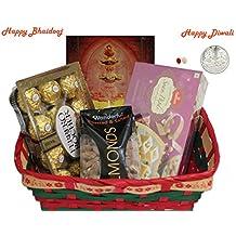 Diwali / Bhaidooj Gift Hamper - Haldiram Soan Papdi, Almonds and Ferrero Rocher in a Beautiful Basket
