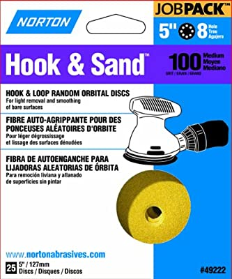 Norton 49222 5-Inch 8 Hole P100 Hook and Loop Discs, 25-Pack