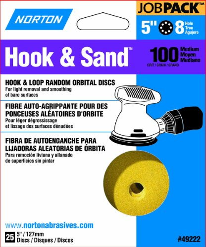 Norton Hook & Sand JobPack 49222 Hook & Loop Random Orbital Discs, P100 Medium Grit, Aluminum Oxide Abrasive, For Finish Sanding and Cleaning of Bare Surfaces, 5