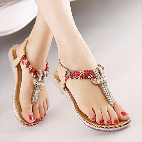 estate piatto basse morbide fondo Sandali sandali scarpe Bohemian B donna strass pizzico YMFIE xqY8vwPZv