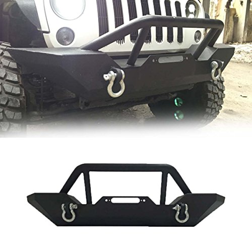 Gevog 1pc Front Rock Crawler Bumper with Winch Plate and D-Ring for 07-18 Jeep Wrangler JK Textured Black