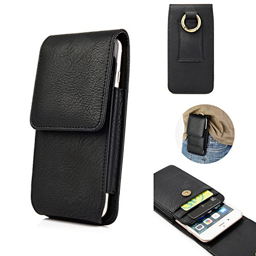 - iPhone 7 Plus 8 Plus Holster Case for Belt, kiwitatá Vertical Premium Leather Carrying Case Belt Loop Pouch Case with Metal Buckle and Card Slots for Galaxy S7 S8(Black)