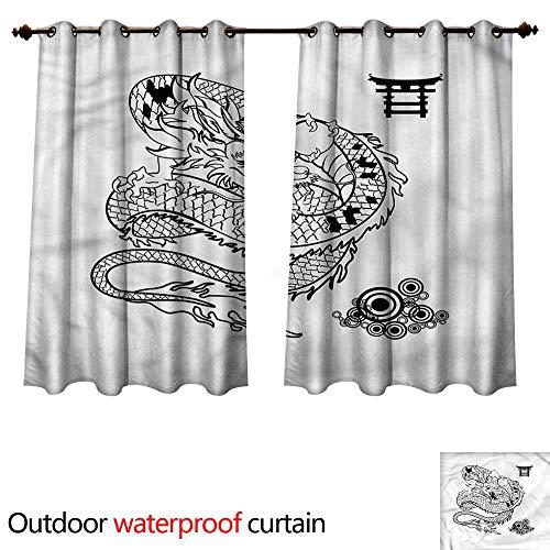 cobeDecor Japanese Dragon Outdoor Ultraviolet Protective Curtains Tattoo Art Reptile W72 x L63(183cm x 160cm)