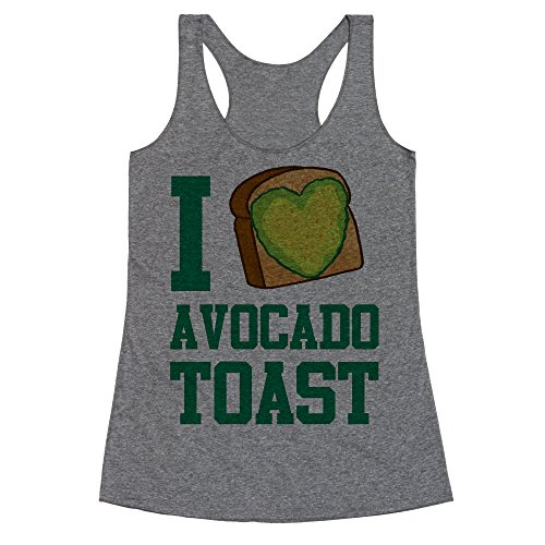 LookHUMAN I Love Avocado Toast Large Heathered Gray Women's Racerback Tank]()