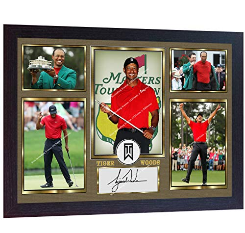 (S&E DESING Tiger Woods 2019 Masters Tournament Signed Autographed Golf Photo Printed Framed)