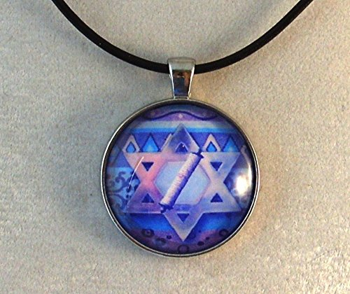 (Blue Star of David Scroll Design Glass Dome Necklace)