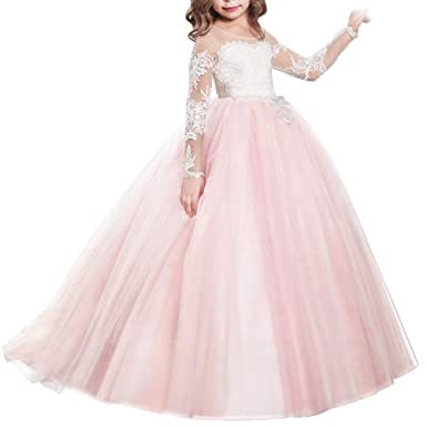 48fb378062913 FYMNSI Flower Girls Lace Appliques Wedding Tulle Dress First Communion Long  Sleeve Birthday Christmas Party Ball