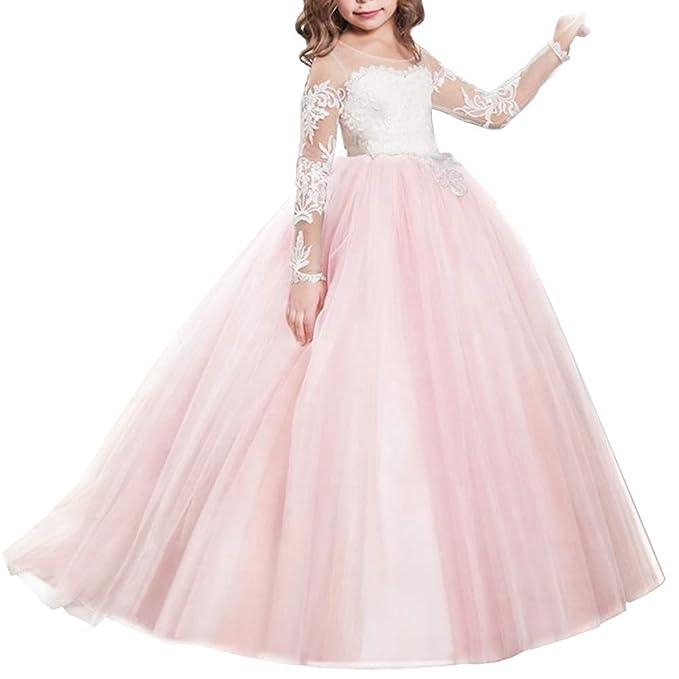 930ae877d3 IWEMEK Vestido de Niña de Flores de Appliques de Cordón Tul Princesa Boda  Vestidos de Dama