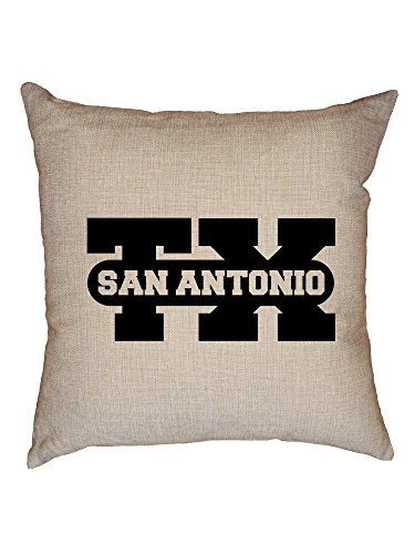 Hollywood Thread San Antonio, Texas TX Classic City State Sign Decorative Linen Throw Cushion Pillow Case with Insert