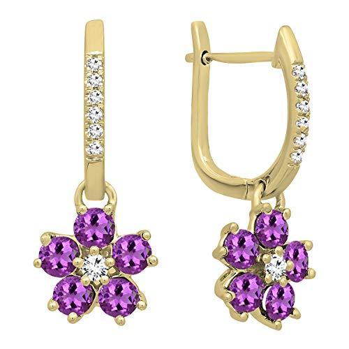 Dazzlingrock Collection 14K Round Amethyst & Diamond Ladies Cluster Flower Dangling Drop Earrings, Yellow ()