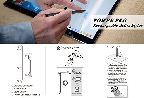 letech+ POWER PRO Rechargeable Active Stylus Pen,Conductive Fiber Fine Point Tip Digital Pen Offers Smooth Hand Writing on iPad,iPad pro,iphone,Samsung Tablet,IOS/Android Devices,w/Carrying Pouch,BLK by letech+ (Image #4)