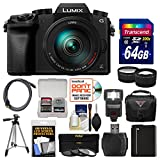 Panasonic Lumix DMC-G7 4K Wi-Fi Digital Camera & 14-140mm Lens with 64GB Card + Case + Flash + Battery + Tripod + Tele/Wide Lens Kit