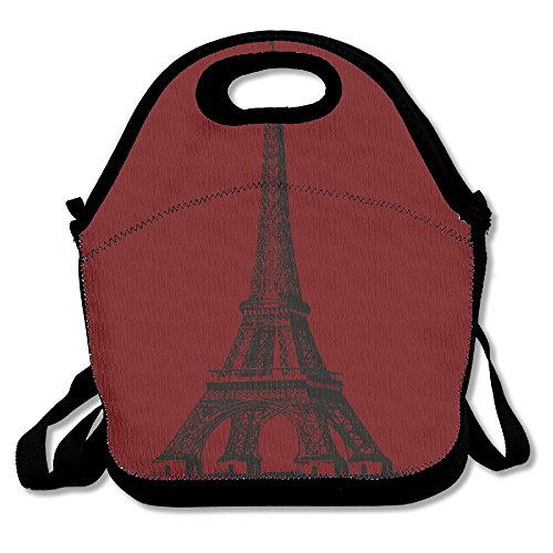Paris Teacup - Black Paris Eiffel Tower Overlaying 4 In 1 Coffee Tea Cup Set Lunch Carry Bag For Man And Woman