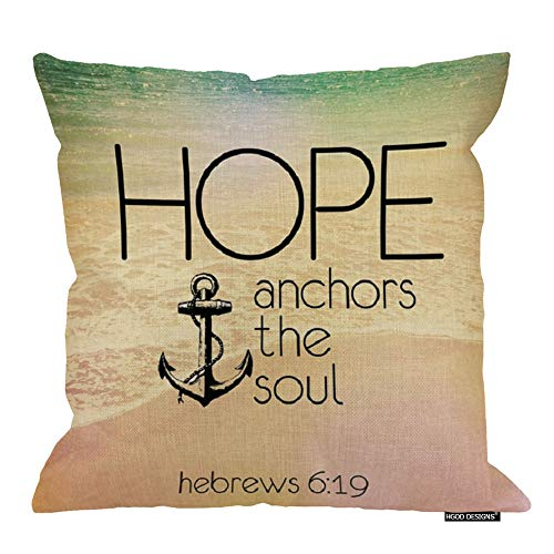 HGOD DESIGNS Christian Religious Bible Verse Inspirational Quotes 18X18 cusion case,Hebrews 6:19 Hope Anchor The Soul Throw Cushion Case Pillowcase Pillow Cover