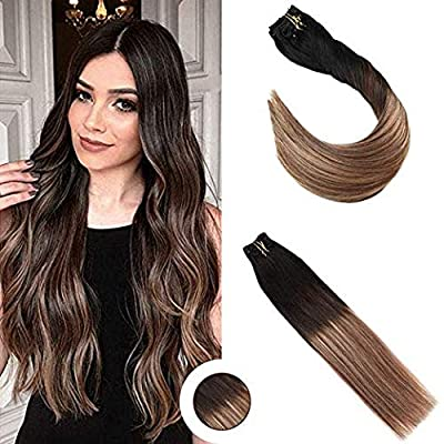 Ugeat 14inch to 22inch Balayage Ombre Clip in Hair Extensions Human Hair 120Gram 9Pcs Real Remy Human Hair