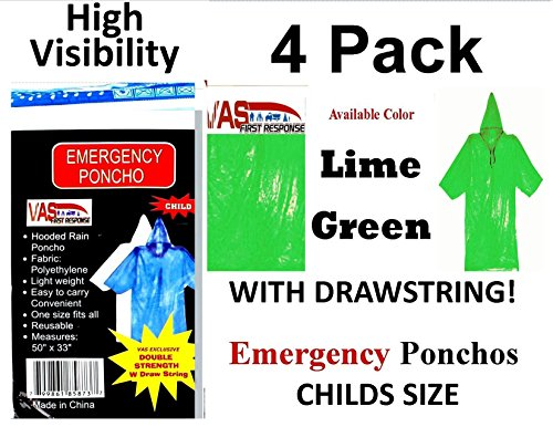 VAS First Response 4 HIGH Visibility Double Strength 5 MIL Childs NEON Green 50 x 33 Emergency Hooded RAIN Poncho with HODD, Sleeves & Draw String