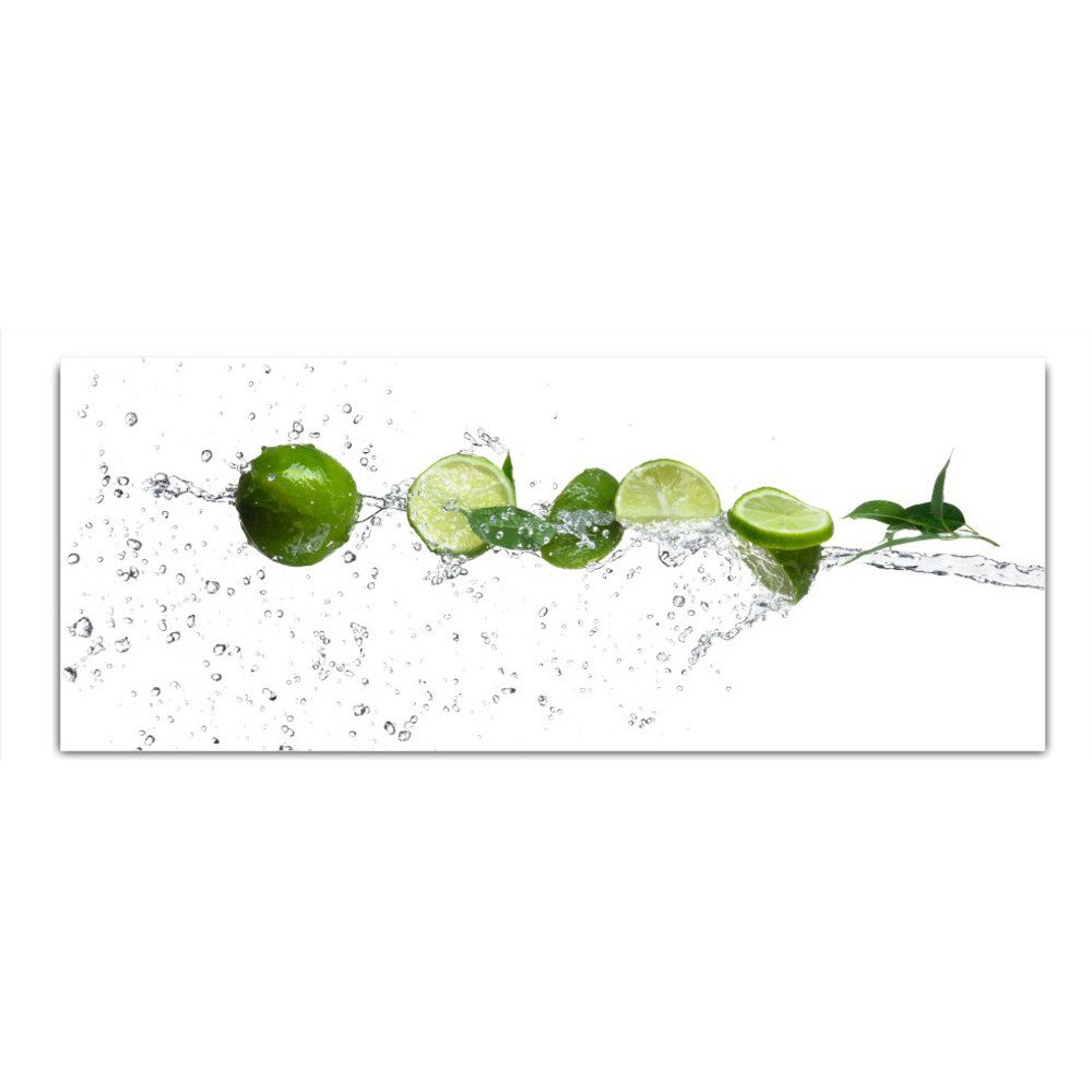 DekoGlas Glasbild 'Limetten Wasser' Echtglas Bild Küche, Wandbild Flur Bilder Wohnzimmer Wanddeko, einteilig 125x50 cm