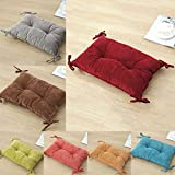 Homyl Decorative Corduroy Student Rectangular Cushion Sofa Soft Cushion Seat Pads Home Decor With Ties - red, as described