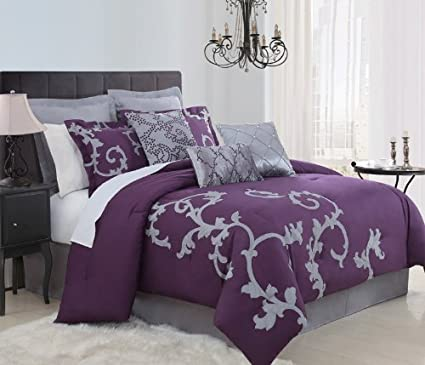 Amazon Com 9 Piece King Duchess Plum And Gray Comforter Set Home