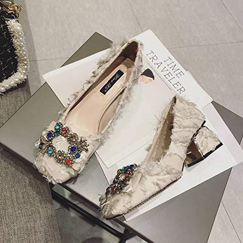 Heeled Shoes Temperament Autumn With High Small Thick High Shoes Fresh Yukun Diamonds Buckle Single heels Beige Female With Wild aq6cSwRT
