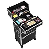 Yaheetech 4 360-degreed Wheels 3-in-1 Professional Aluminum Artist Rolling Trolley Makeup Train Case Cosmetic Organizer Makeup Case for Beauty Chains W/shoulder Straps (Black)