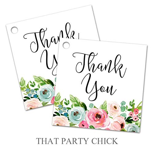 Floral Favor Tags Set of 24 Favor Tag Bridal Gift Tag Pretty Floral Watercolor Baby Shower Thank You Tag Favor -