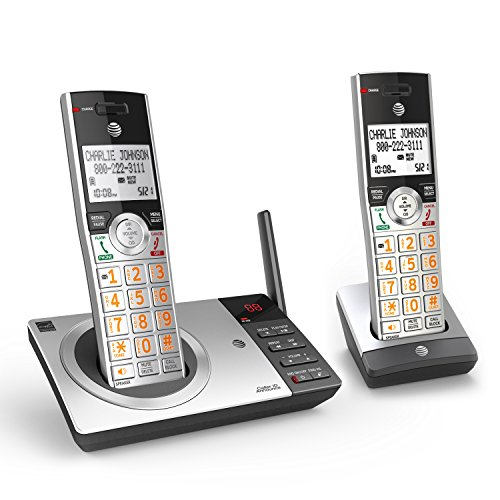 AT&T DECT 6.0 Expandable Cordless Phone with Answering System, Silver/Black with 2 Handset (Home Phone 2 Handsets)