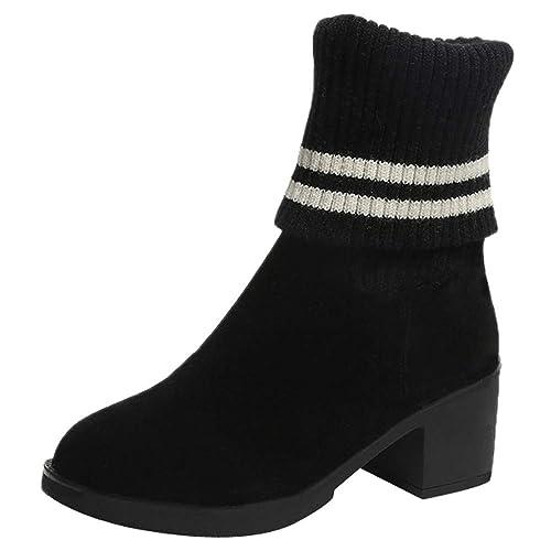 ALIKEEY Las ☀ Mujeres De Ante Deslizamiento En El Dedo del Pie Redondo Zapatos De Tacón Alto Pliegue Botines Mantener Caliente Botas Seguridad Hombre ...