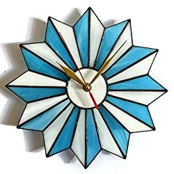 Mid century modern starburst wall clock made of stained glass in turquoise blue and white