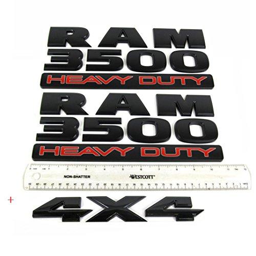 Yoaoo 3x OEM Black Ram 3500 Heavy Duty Plus 4x4 Emblem Badge 3D Emblem Decal Nameplates Flat Letter New Matte