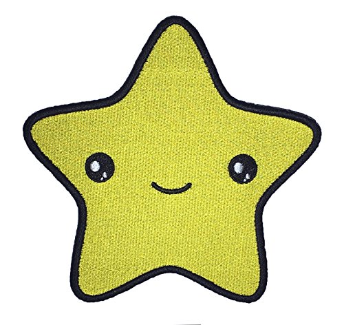 Cute Star Face Kawaii Sew On Embroidered - Star Yellow Patches