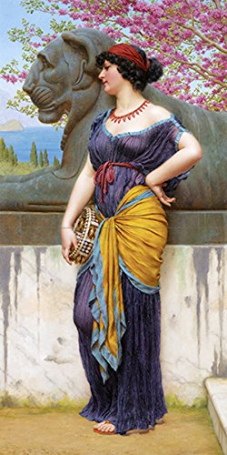 IN THE GROVE OF THE TEMPLE OF ISIS by JOHN WILLIAM GODWARD girl woman blossom Tile Mural Kitchen Bathroom Wall Backsplash Behind Stove Range Sink Splashback 1x2 4.25