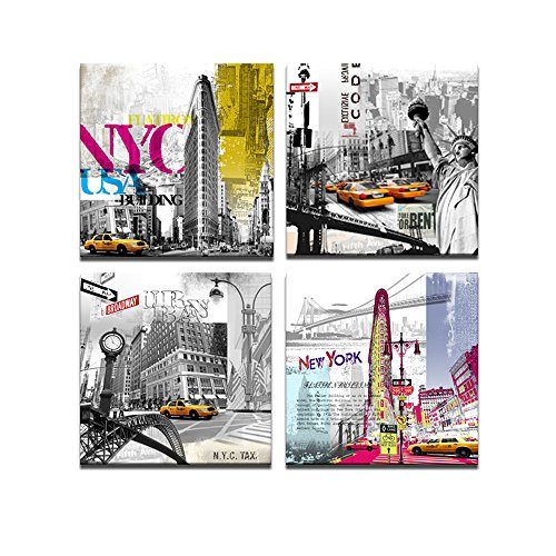 Visual Art Decor New York Canvas Prints Modern Paintings American Impression Famous Architecture USA NY Street Wall Art (Colorful NY)