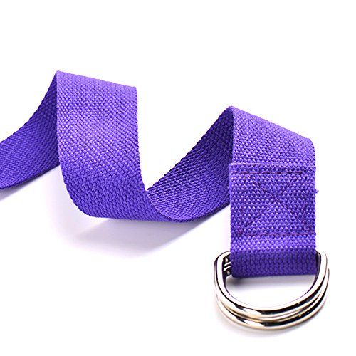 Elemart Yoga Strap - 6ft Durable Cotton Yoga Strap With Adjustable Metal D-Ring Buckle for Stretching, Flexibility & Physical Therapy - 2PCS (Purple)