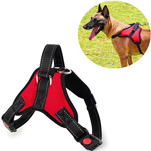 Mascot Pull (Vinca Mascot No Pull Dog Harness Vest Adjustable Safety Pet Harnesses Reflective With Handle Small Medium Large Breed Padded Chest Vest For Walking Training Choke Free (Red, M))