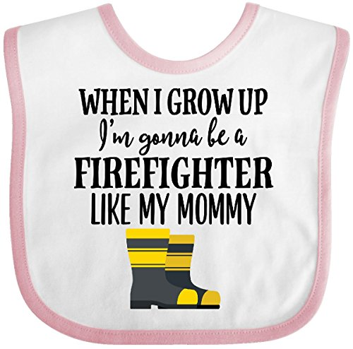 Inktastic - Future Firefighter Like Mommy Baby Bib White/Pink - Future Baby Bib Firefighter