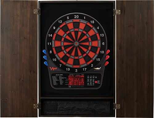 Viper Metropolitan Solid Wood Cabinet & Electronic Dartboard Ready-to-Play Bundle: Premium Set (800 Dartboard and Darts), Espresso Finish