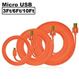 SEGMOI® 3Pack 3Ft/6Ft/10Ft Premium Braided Aluminum Gold Plated Micro USB Charging Sync Data Cable Charger Cord for Samsung Galaxy S7 S6 Edge S5 S4 Note 4 5 Tab S, Moto G X,LG HTC Huawei (Orange)