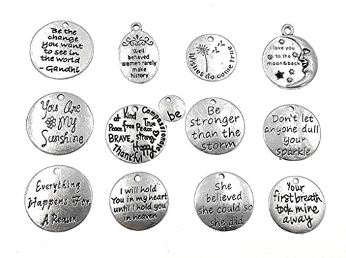 Tag Charm Jewelry - Kinteshun Alloy Lettering Charm Hang Tag Round Quote Message Pendant for DIY Necklace Bracelet Jewelry Making Accessaries(12pcs,Antique Silver,Multistyle)