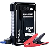 VEKKIA Portable Lithium Car Jump Starter Power Pack Battery Booster, 1000A Peak Start Dead Batteries of 7.0L Engine. 4X-High-Efficiency-Output Tech, 40% More Powerful. Smart Clamp, Case & Cable Incl.