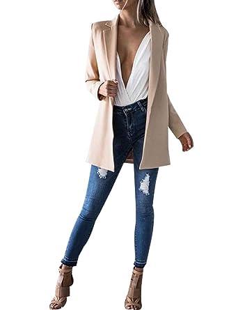 f791bb398f6 Blazer Femme Printemps Col à Revers Allongé Cintré Manteau Veste pour  Automne  Amazon.fr  Vêtements et accessoires