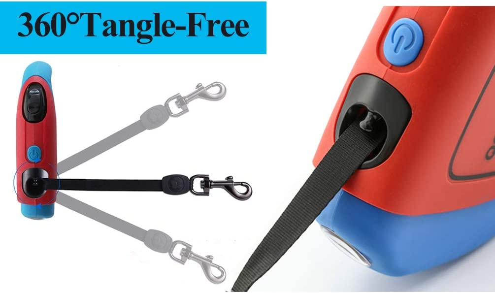 Dog Leads Strong Retractable Tape Cord Rope No Tangle Dog Leash Extendable with Light 5m with Waste Bag Dispenser for Small Medium Big Dogs