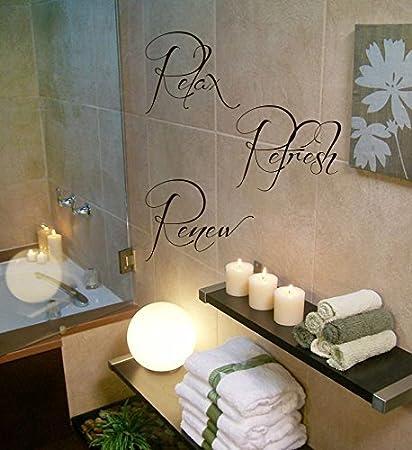 wall decor vinyl decal sticker words relax refresh renew spa bathroom decor kg619 - Spa Bathroom Decor